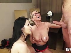 German babes sharing a big cock