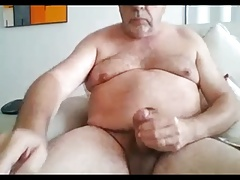 grandpa show and stroke on webcam