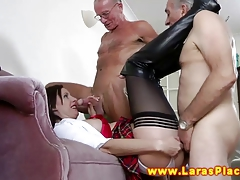 Mature stocking sluts stuffed with hard dick in their threew