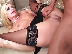 Sexy blonde milf mature in stockings fucks great
