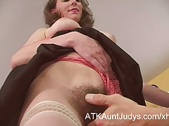 Hairy Milf seduces a younger man