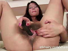 Mistique fingers her wet and hairy pussy 3