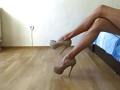 My sexy long legs in nude high heel pumps